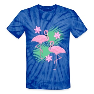 tropical flamingos - Unisex Tie Dye T-Shirt
