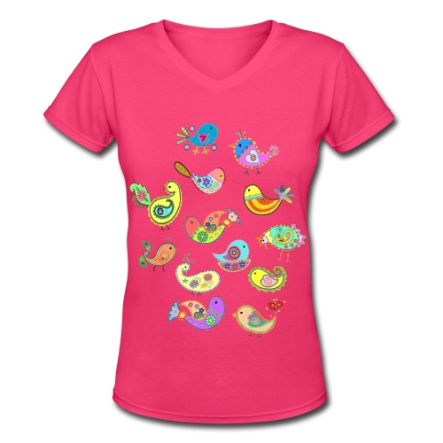 paisley birds - Women's V-Neck T-Shirt