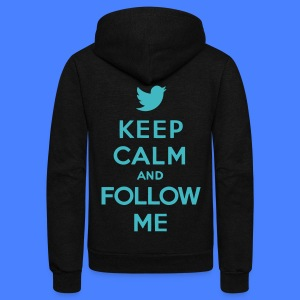 Keep Calm and Follow Me Twitter Zip Hoodies/Jacket - Unisex Fleece Zip Hoodie by American Apparel