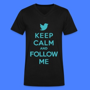 Keep Calm and Follow Me Twitter T-Shirts - Men's V-Neck T-Shirt by Canvas