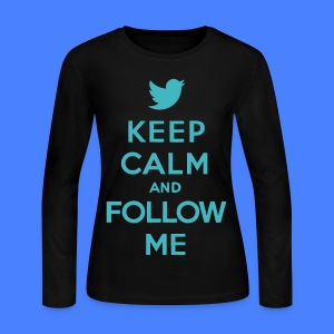 Keep Calm and Follow Me Twitter Long Sleeve Shirts - Women's Long Sleeve Jersey T-Shirt