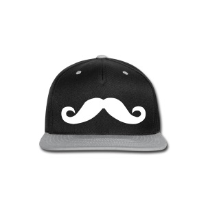Mustache Hat White - Snap-back Baseball Cap