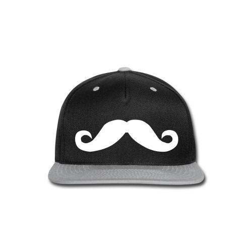 Mustache Hat White - Snap-back Baseball Cap