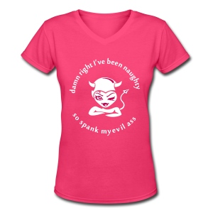 NAUGHTY GIRL Women's T-Shirts - Women's V-Neck T-Shirt