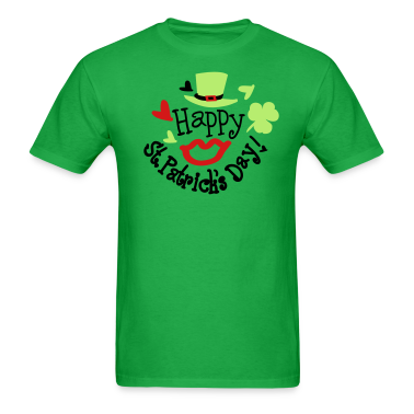 Green hat lucky charm sexy lips st.Patty's day Men