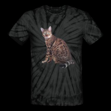 Unisex Tie Dye T-Shirt Bengal Cat Patch Print