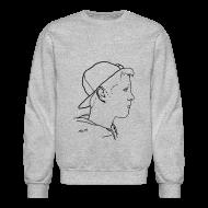 Long Sleeve Shirts ~ Men's Crewneck Sweatshirt ~ Men's Side Portrait Crew Neck