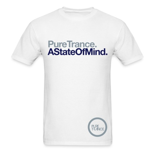 A State Of Mind. (Metallic Silver/Navy Blue) [Male] - Men's T-Shirt