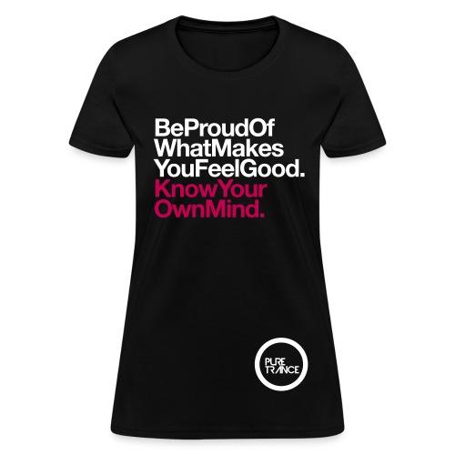 Be Proud. (White/Magenta) [Female] - Women's T-Shirt