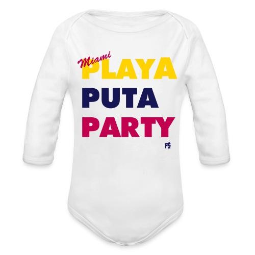 Baby Miami Motto (Colombian, Venezuelan edition)  - Organic Long Sleeve Baby Bodysuit