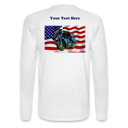 Men's Long Sleeve Back US Flag Hartxt - Men's Long Sleeve T-Shirt