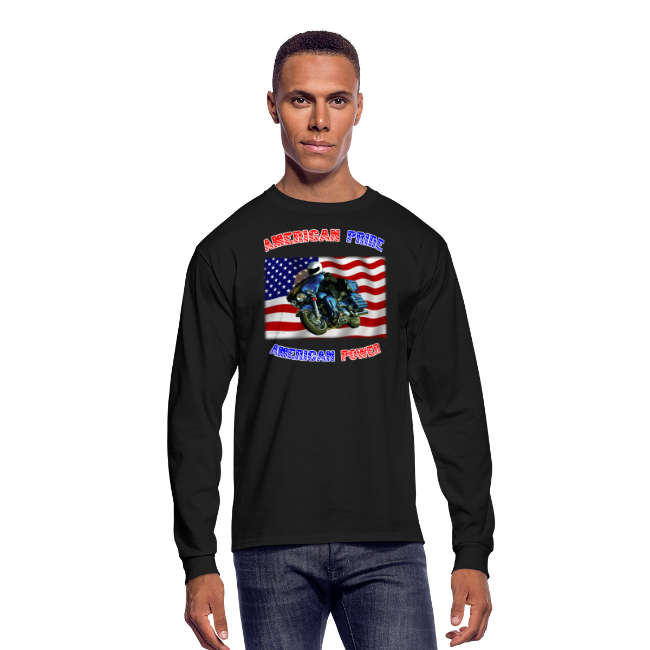 Men's Long Sleeve Hanes Front American Pride