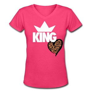 Women's Cheetah Hearted KING V-Neck T-Shirt (VARIOUS COLORS VISIT SITE  - Women's V-Neck T-Shirt