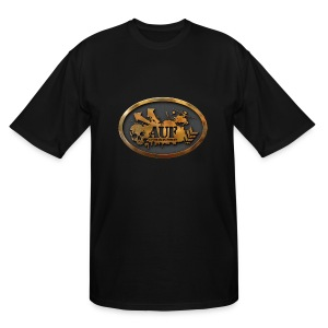 AUF Logo - Men's TALL T-Shirt - basic Logo - GOLD bordered LOGO + flex URL - Men's Tall T-Shirt