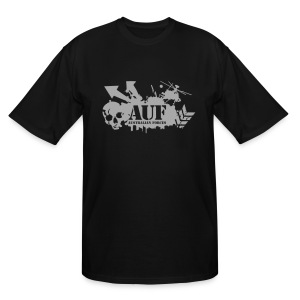 AUF Logo - Men's TALL T-Shirt - basic Logo - Metallic Silver LOGO + URL - Men's Tall T-Shirt