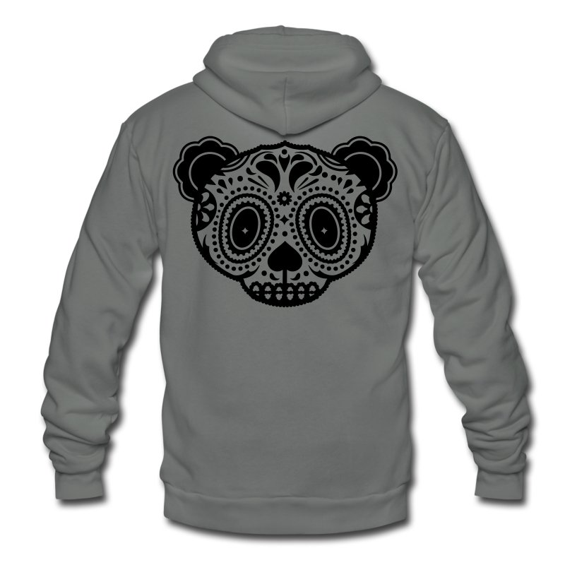 Panda Sugar Skull  - Unisex Fleece Zip Hoodie by American Apparel