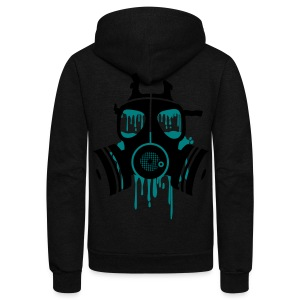 Gas Mask Graffiti   - Unisex Fleece Zip Hoodie by American Apparel
