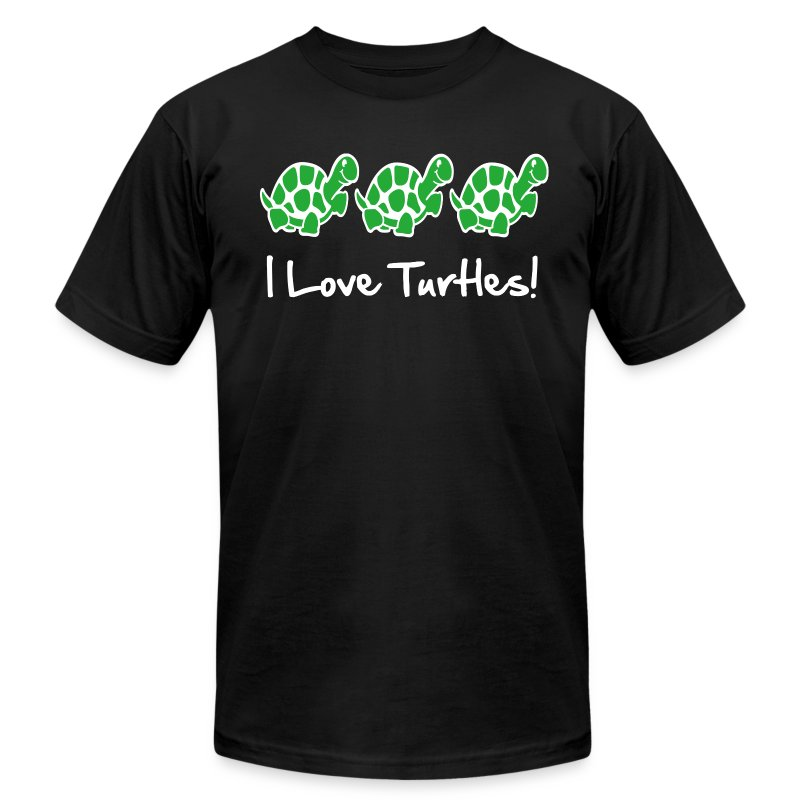 I Love Turtles - Men's T-Shirt by American Apparel