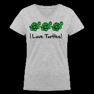 Women's T-Shirts ~ Women's V-Neck T-Shirt ~ I Love Turtles