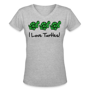 I Love Turtles - Women's V-Neck T-Shirt