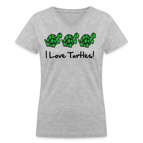 I Love Turtles - Women's V-Neck T-Shirt