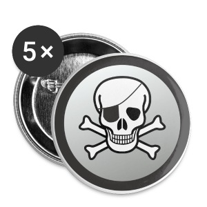 EyepatchSkullCrossbonesButtonL - Large Buttons