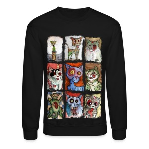 mens 9 zombie cats - Crewneck Sweatshirt