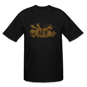 AUF Logo - Men's TALL T-Shirt - basic Logo - Metallic GOLD LOGO + URL - Men's Tall T-Shirt