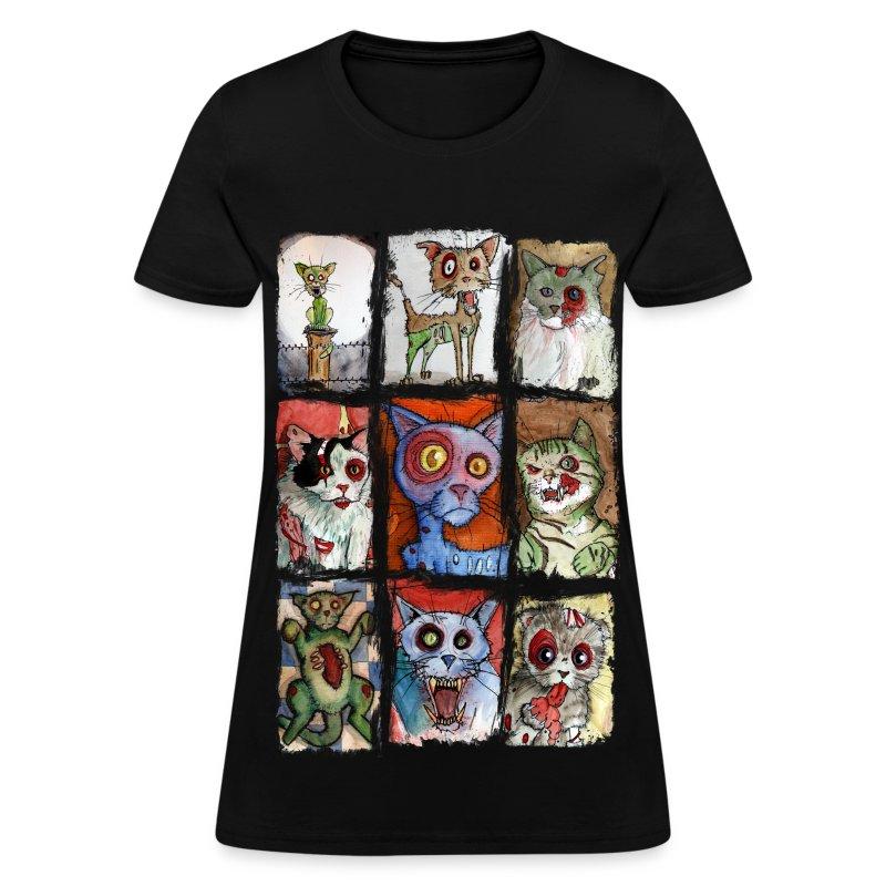 womens 9 zombie cats - Women's T-Shirt