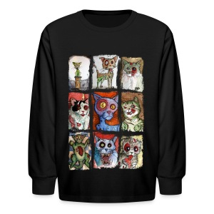 kids 9 zombie cats - Kids' Long Sleeve T-Shirt