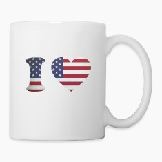 USA Heart Flag Bottles & Mugs