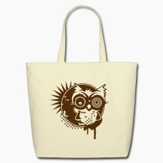 Graffiti Sticker with an owl - monochrome Bags