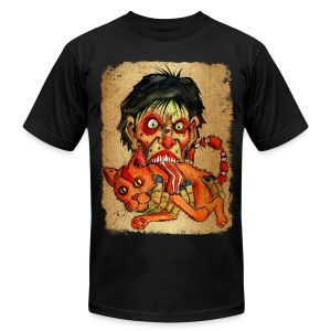mens zombie eating bacon cat - Men's T-Shirt by American Apparel