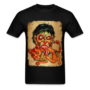 mens zombie eating bacon cat - Men's T-Shirt