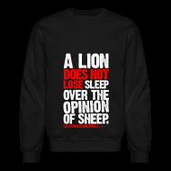 Long Sleeve Shirts ~ Crewneck Sweatshirt ~ A lion does not lose sleep | Mens jumper (wht pr)