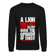 Long Sleeve Shirts ~ Crewneck Sweatshirt ~ A lion does not lose sleep | Mens jumper (wht pr)