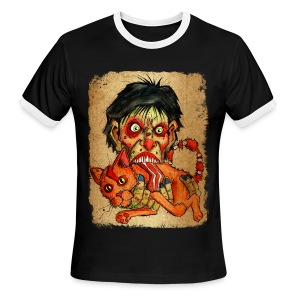 mens zombie eating bacon cat - Men's Ringer T-Shirt