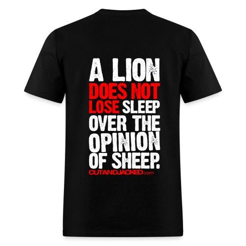 A lion does not lose sleep | Mens Tee (wht pr) back print - Men's T-Shirt