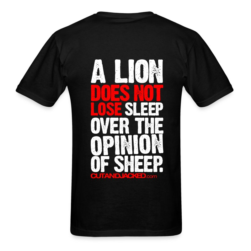A lion does not lose sleep | Mens Tee (wht pr) back print - Men's T-Shirt