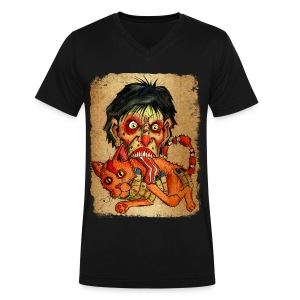 mens zombie eating bacon cat - Men's V-Neck T-Shirt by Canvas