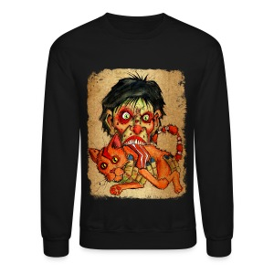 mens zombie eating bacon cat - Crewneck Sweatshirt