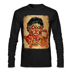 mens zombie eating bacon cat - Men's Long Sleeve T-Shirt by Next Level