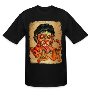 mens zombie eating bacon cat - Men's Tall T-Shirt
