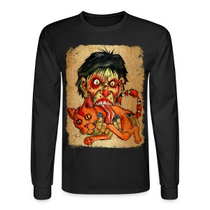 mens zombie eating bacon cat - Men's Long Sleeve T-Shirt