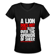 Women's T-Shirts ~ Women's V-Neck T-Shirt ~ A lion does not lose sleep | Womens tee
