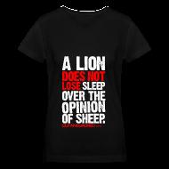 Women's T-Shirts ~ Women's V-Neck T-Shirt ~ A lion does not lose sleep | Womens tee