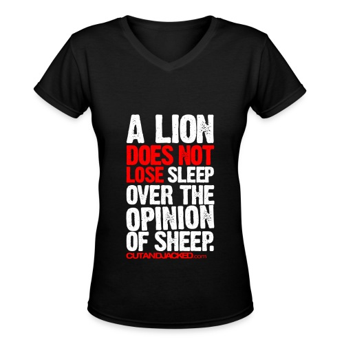 A lion does not lose sleep | Womens tee - Women's V-Neck T-Shirt