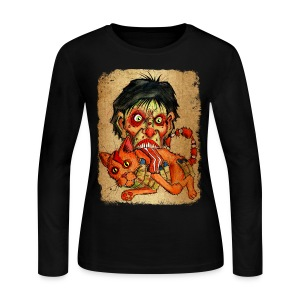 womens zombie eating bacon cat - Women's Long Sleeve Jersey T-Shirt