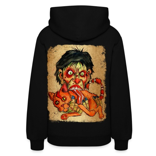 womens zombie eating bacon cat - Women's Hoodie