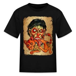 kids zombie eating bacon cat - Kids' T-Shirt
